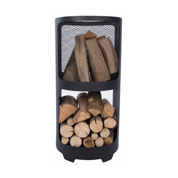 Vuurmand met hout opslag 44cm 02