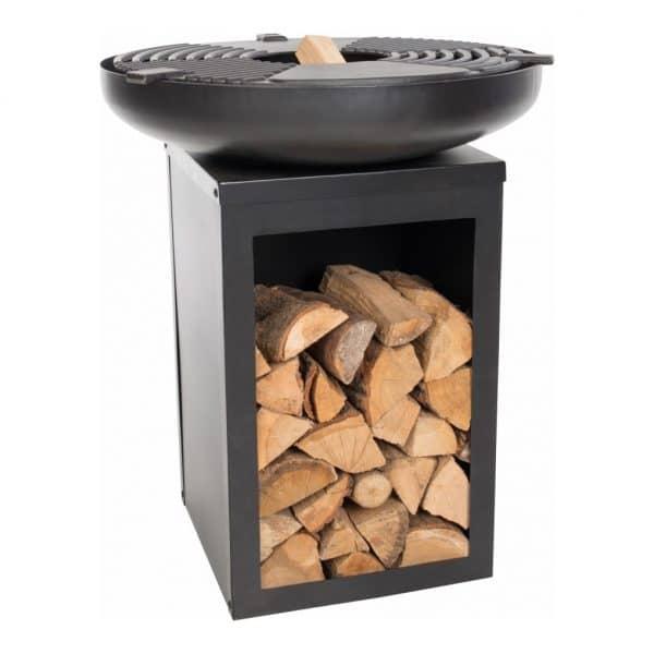 Vuurschaal plaatgril BBQ met houtopslag